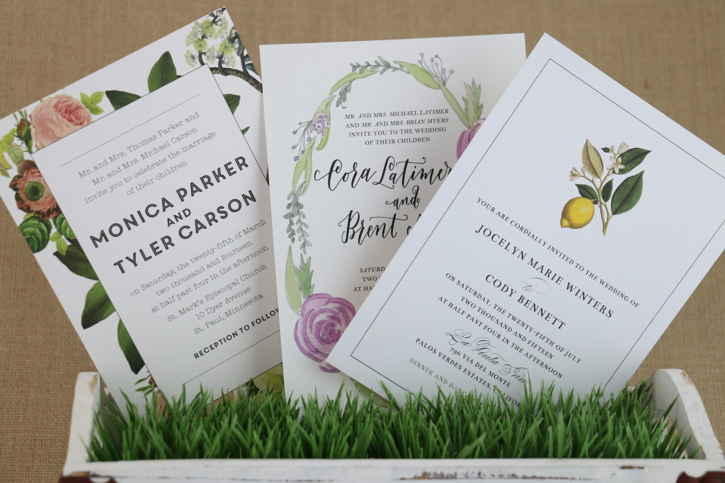From left: Botanical Embrace, Rosy Wreaths, and Lemon Fields